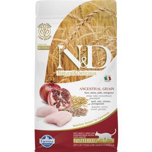 Сухой корм Farmina N&D Neutered Cat LG Chicken & Pomegranate низкозерновой с курицей и гранатом для стерилизованных кошек 1,5кг (30481)