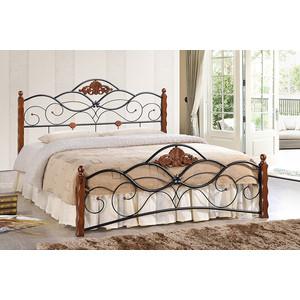 Кровать TetChair CANZONA 140x200 черный/красный дуб