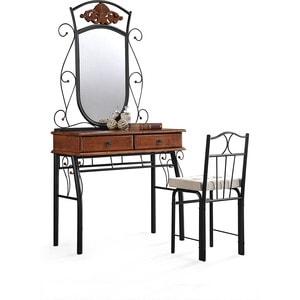 Столик туалетный TetChair CANZONA, цвет черный/красный дуб (столик/зеркало+стул)
