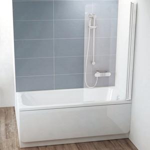 Шторка на ванну Ravak Chrome CVS1-80 R прозрачная, белый, правая (7QR40100Z1)