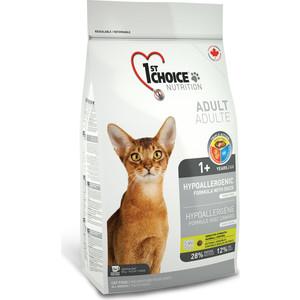 Купить Сухой корм 1-ST CHOICE Adult Cat Hypoallergenic Grain Free with Duck беззерновой с уткой и бататом для кошек с проблемами пищеварения 5, 44кг(102.1.252)