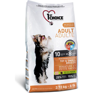 Сухой корм 1-ST CHOICE Adult Dog Toy & Small Breeds Chicken с курицей для собак мелких пород 7кг (102.315а)