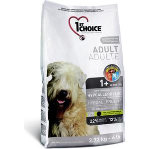 Сухой корм 1-ST CHOICE Adult Dog Hypoallergenic Potatoes & Duck Formula с уткой и картофелем для собак чувствительным ЖКТ 12кг (102.325)