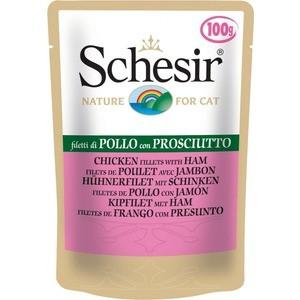 Паучи Schesir Nature for Cat Chicken Fillets & Ham кусочки в желе с куриным филе и ветчиной для кошек 100г (С579)