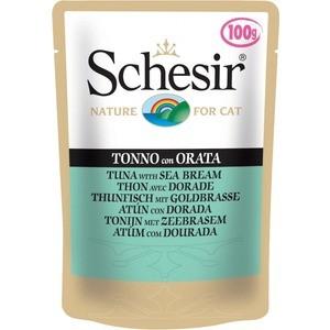 цена на Паучи Schesir Nature for Cat Tuna with Sea Bream кусочки в желе с тунцом и дорадо (морским лещем) для кошек 100г (С581)
