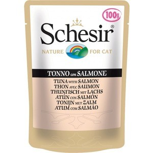 Паучи Schesir Nature for Cat Tuna with Salmon кусочки в желе с тунцом и лососем для кошек 100г (С582) фото