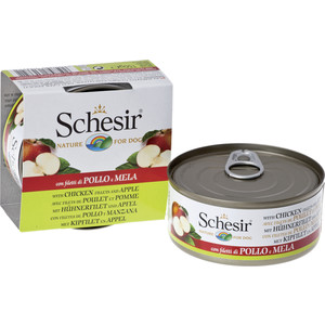 Консервы Schesir Nature for Dog Chicken Fillets & Apple кусочки в желе с куриным филе и яблоком для собак 150г (С372)