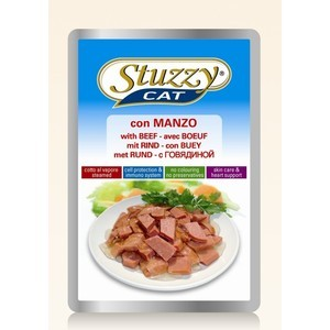 цена на Паучи Stuzzy Cat Skin Care & Heart Support with Beef кусочки в соусе с говядиной, забота о коже и сердце для кошек 100г (132.С2402)