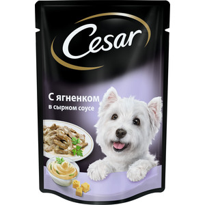 Паучи Cesar аппетитные блюда с ягненком в сырном соусе для собак всех пород 100г (10156796)