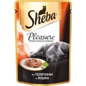 Паучи Sheba Pleasure кусочки с телятиной и языком для кошек 85г (10161701) консервы для взрослых кошек sheba pleasure с телятиной и языком в соусе 85 г 24 шт