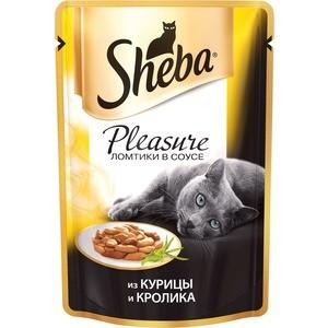 Паучи Sheba Pleasure кусочки с курицей и кроликом для кошек 85г (10161703) корм sheba курица кролик 85g для кошек yh856 10161703