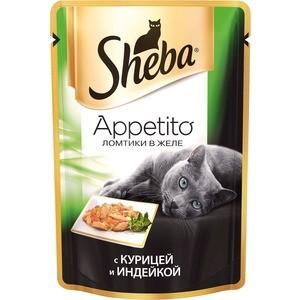 Паучи Sheba Appetito ломтики в желе с курицей и индейкой для кошек 85г (10161707) корм для кошек sheba appetito курица индейка в желе конс 85г