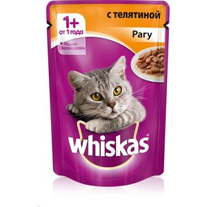 Паучи Whiskas рагу с телятиной для кошек 85г (10155471) корм консервированный dr clauder s для кошек с телятиной и индейкой 100 г