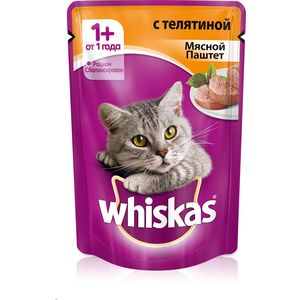 Паучи Whiskas мясной паштет с телятиной для кошек 85г (10156260) консервы whiskas для кошек от 1 года мясной паштет из говядины с печенью 85 г х 24 шт