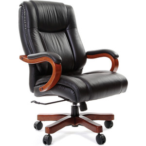 Офисное кресло Chairman CH 403 кожа + PU черное кресло офисное астро черное