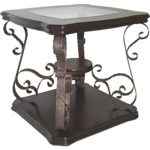 Стол журнальный Мебелик Лючия 2102 темно-коричневый/ прозрачное стол с ящиками лючия