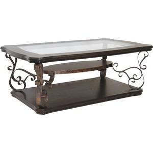 Стол журнальный Мебелик Лючия 2101 темно-коричневый/ прозрачное