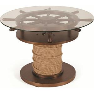 Стол журнальный Мебелик Штурвал тёмно-коричневый/прозрачное стол журнальный мебелик квартет 13 средне коричневый прозрачное