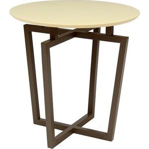 Стол журнальный Мебелик Рилле 440 темный кофе / бежевый кругл.