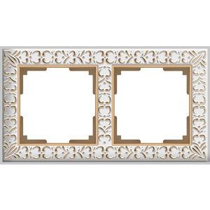 Рамка Werkel Antik на 2 поста белое золото WL07-Frame-01