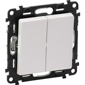 Выключатель двухклавишный Legrand Valena Life 10A 250V белый 752405 выключатель одноклавишный legrand etika 10a 250v антрацит 672601