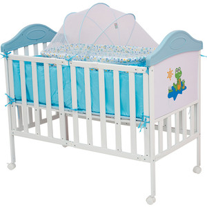 Кроватка BabyHit Sleepy compact Белый с голубым, динозавриком на торце SLEEPY COMPACT BLUE