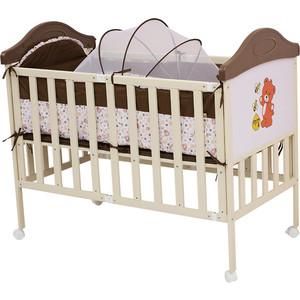 Кроватка BabyHit Sleepy compact Коричневый с бежевым, с медвежонком на торце SLEEPY COMPACT COFFEE