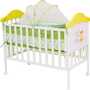 Кроватка BabyHit Sleepy compact Белый с зелёным, тигрёнком на торце SLEEPY COMPACT GREEN