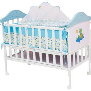 Кроватка BabyHit Sleepy extend Белый с голубым, с динозавриком на торце SLEEPY EXTEND BLUE