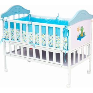 Кроватка BabyHit Sleepy Белый с голубым, динозавриком на торце SLEEPY BLUE