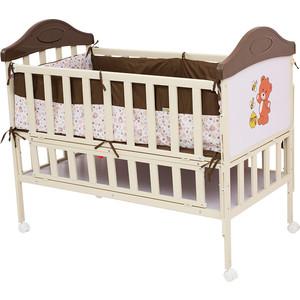 Кроватка BabyHit Sleepy Коричневый с бежевым, медвежонком на торце SLEEPY COFFEE