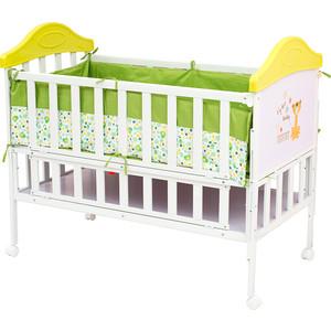 Кроватка BabyHit Sleepy Белый с зелёным, тигрёнком на торце SLEEPY GREEN