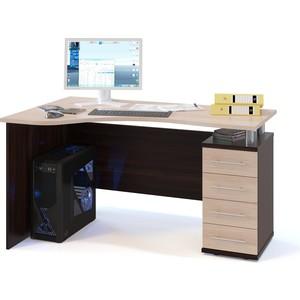 купить Стол компьютерный СОКОЛ КСТ-104.1 венге/беленый дуб правый дешево