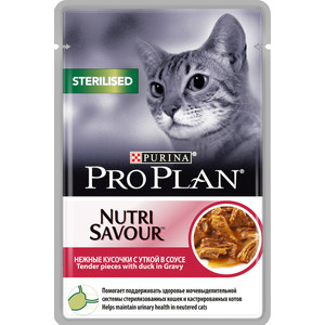Паучи PRO PLAN Nutri Savour Sterilised Cat Pieces with Duck in Gravy кусочки в соусе с уткой для стерилизованных кошек 85г (12305886) grinding machines vibrating zubr spsm 300e 02