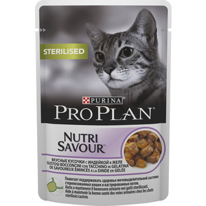 Паучи PRO PLAN Nutri Savour Sterilised Cat Chunks with Turkey in Jelly кусочки в желе с индейкой для стерилизованных кошек 85г (12287047)