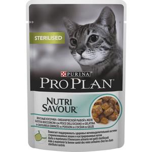Паучи PRO PLAN Nutri Savour Sterilised Cat Chunks with Ocean Fish in Jelly кусочки в желе с рыбой для стерилизованных кошек 85г (12287097) фото