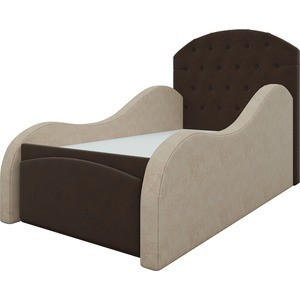 Детская кровать Мебелико Майя микровельвет бежево-коричневый все цены