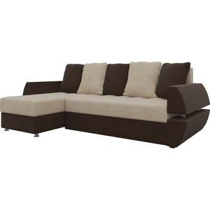 Диван угловой Мебелико Атлант УТ микровельвет бежево-коричн левый диван угловой мебелико атлант ут микровельвет бежево коричн левый