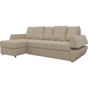 Диван угловой Мебелико Атлант УТ микровельвет бежевый левый диван угловой мебелико атлант ут микровельвет бежево коричн левый
