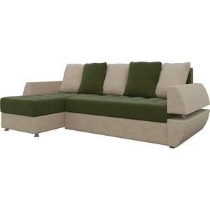 Диван угловой Мебелико Атлант УТ микровельвет зелено-бежевый левый диван еврокнижка мебелико атлант т микровельвет зелено бежевый