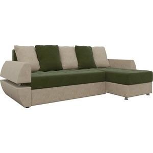 Диван угловой Мебелико Атлант УТ микровельвет зелено-бежевый правый диван еврокнижка мебелико атлант т микровельвет зелено бежевый