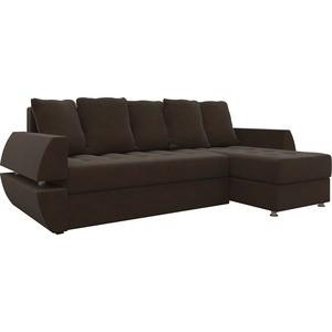 Диван угловой АртМебель Атлант УТ микровельвет коричневый правый диван артмебель бремен микровельвет коричневый