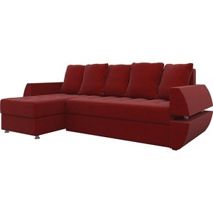 Диван угловой Мебелико Атлант УТ микровельвет красный левый диван угловой мебелико атлант ут микровельвет бежево коричн левый