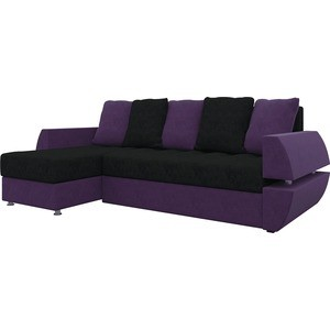 Диван угловой Мебелико Атлант УТ микровельвет черно-фиолетов левый диван угловой мебелико атлант ут микровельвет бежево коричн левый