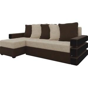 Диван угловой Мебелико Венеция микровельвет бежево-коричн левый диван угловой мебелико атлант ут микровельвет бежево коричн левый