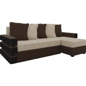 Диван угловой Мебелико Венеция микровельвет бежево-коричн правый диван угловой мебелико венеция микровельвет красно черный правый