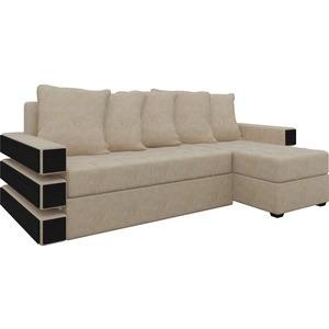 Диван угловой Мебелико Венеция микровельвет бежевый правый диван угловой мебелико венеция микровельвет красно черный правый