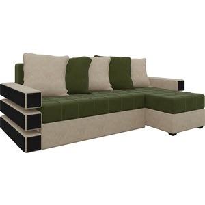 Диван угловой Мебелико Венеция микровельвет зелено-бежевый правый диван угловой мебелико венеция микровельвет красно черный правый