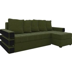 Диван угловой Мебелико Венеция микровельвет зеленый правый диван угловой мебелико венеция микровельвет красно черный правый
