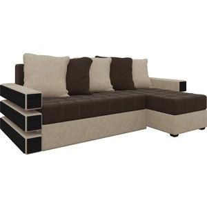 Диван угловой Мебелико Венеция микровельвет коричнево-бежев правый диван угловой мебелико венеция микровельвет красно черный правый